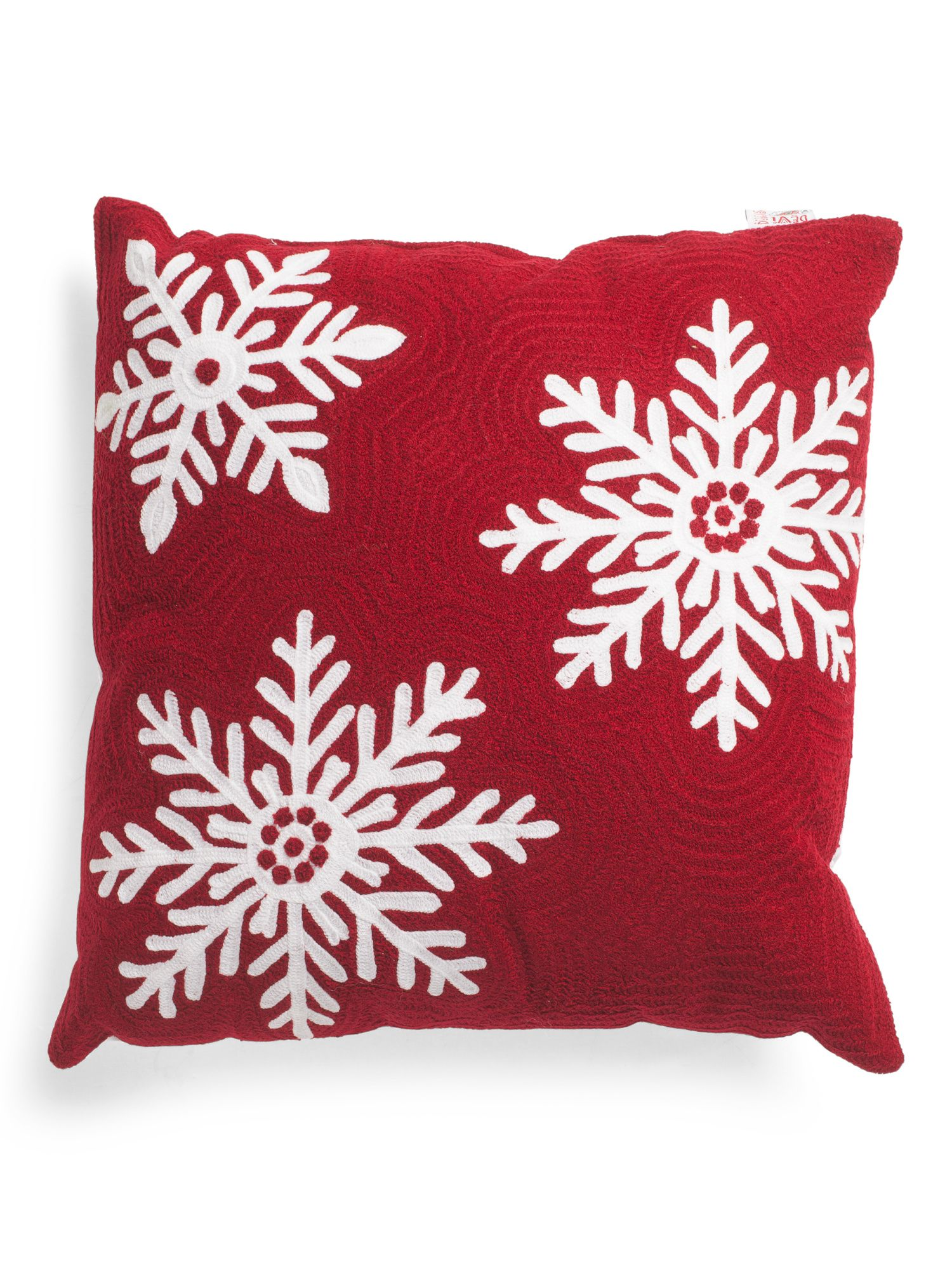 Made In India 20x20 Crewel Embroidered Snowflake Pillow Throw