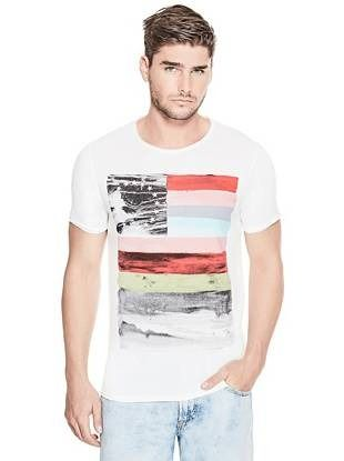 Technicolor Flag Crew Tee | shop.GUESS.com