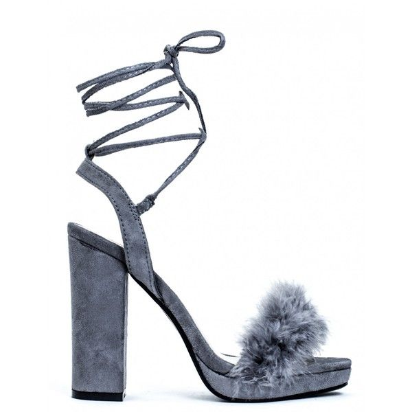 a01bebb39c7 NO LIMIT GREY FLUFFY LACE UP BLOCK HEELS (522.005 IDR) ❤ liked on Polyvore  featuring shoes