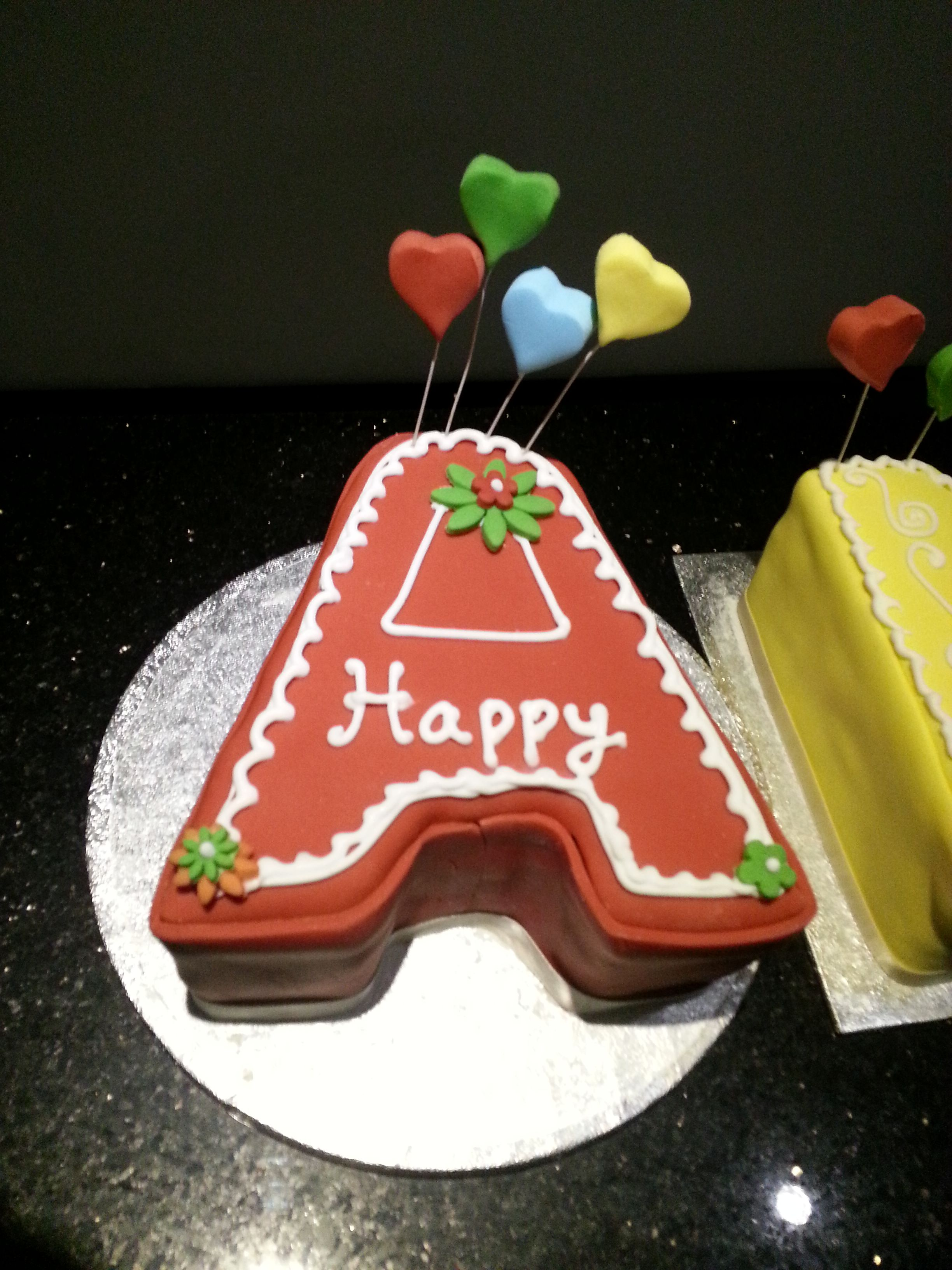 Letter A Red Birthday Cake Celebration Cakes By Little Touch Of