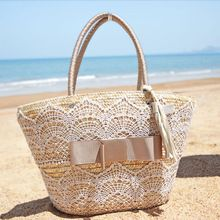2014 New Fashion Women Medium Beige Lace Bow Tassel Woven Handmade ...