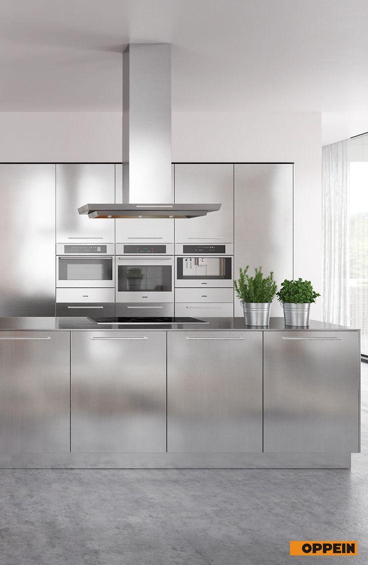 Modern Clean Lines Stainless Steel Kitchen Cabinet  Steel kitchen