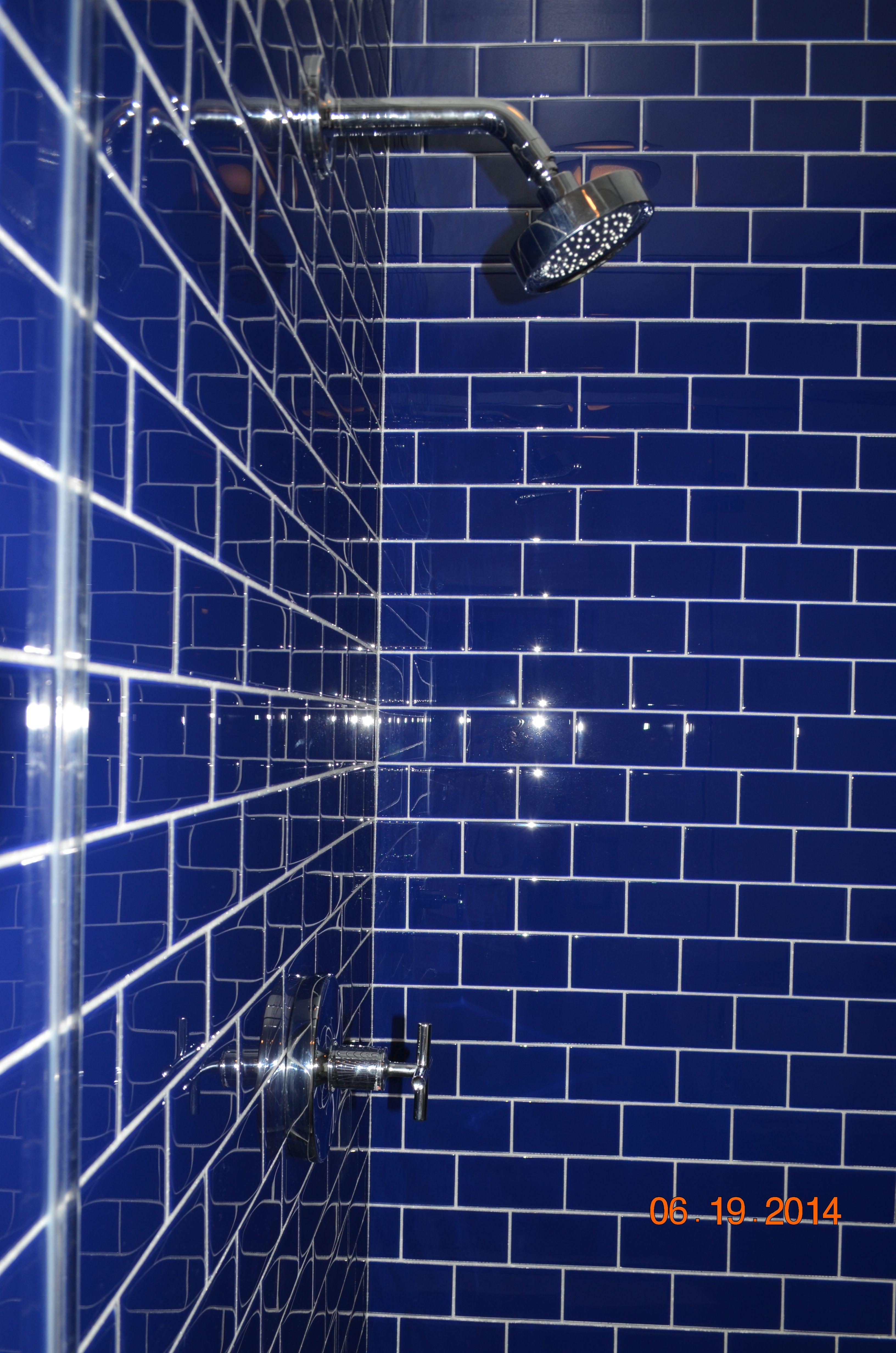 Cobalt Blue Glass Tile For Walk In Shower Blue Bathroom Tile Blue Glass Tile Glass Shower Doors