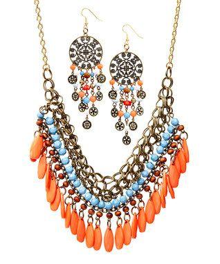 Orange & Blue Bead Bib Necklace & Drop Earrings Set