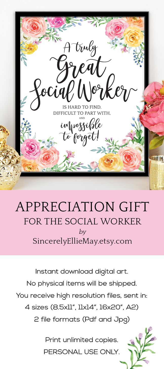 Social Worker Appreciation Quote Gift - Wall Art Printable ...