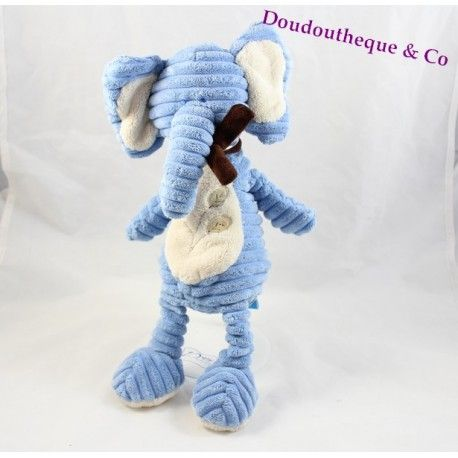 Peluche Elephant Tex Baby Bleu Echarpe Marron Carrefour 35 Cm Doudou Perdu Doudou Peluche