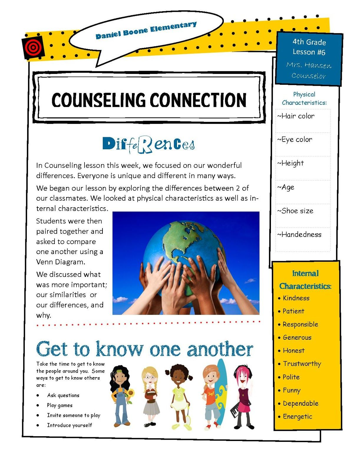 hanselor the counselor 4th grade lesson elementary counseling