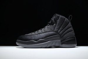super popular dc831 32906 Mens Nike Air Jordan 12 Retro Wool 852627 003 Black Grey Boy Basketball  Shoes Jordan 12