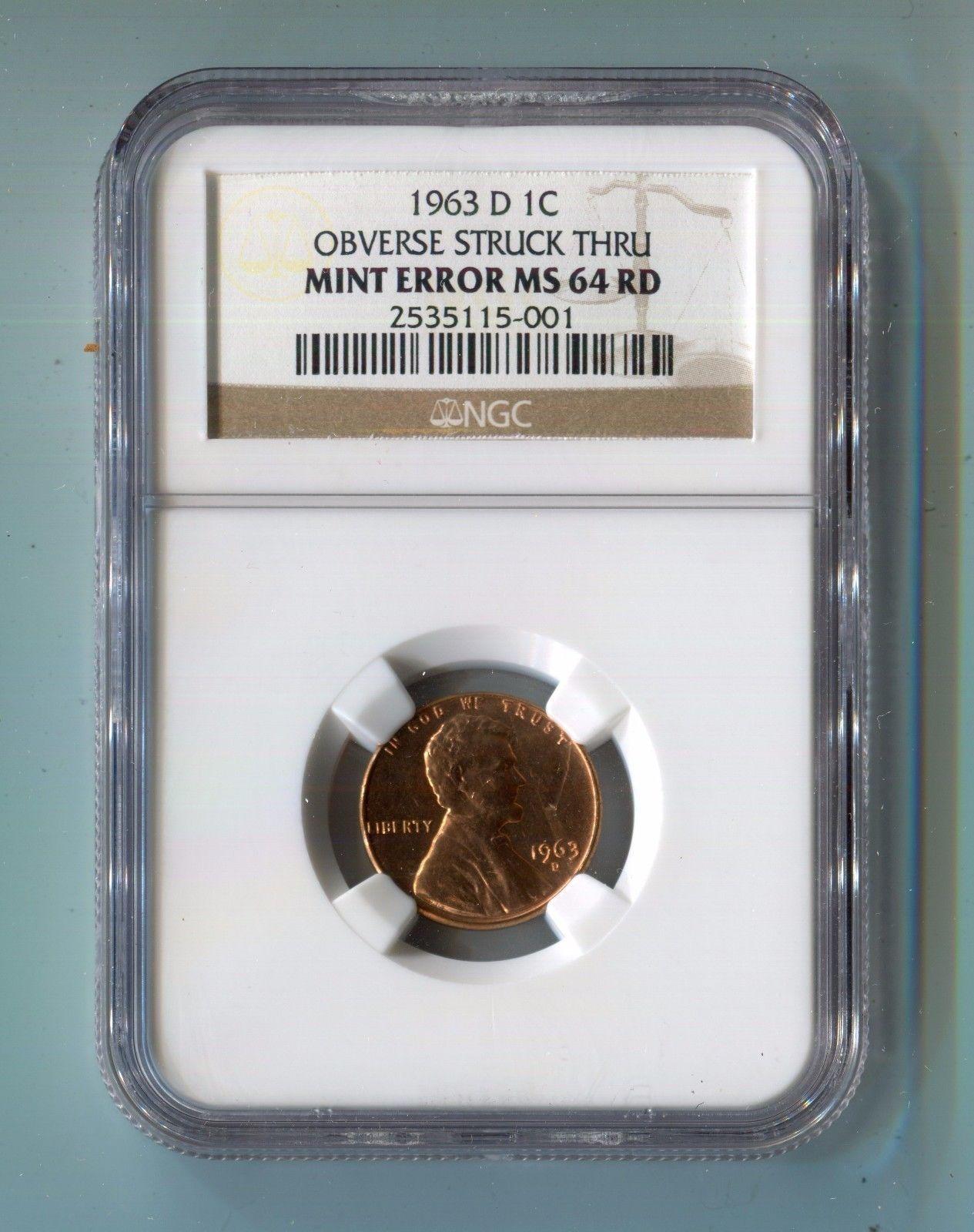 error #errorcoins 1963 D 1C Penny Obverse Struck Thru Mint Error