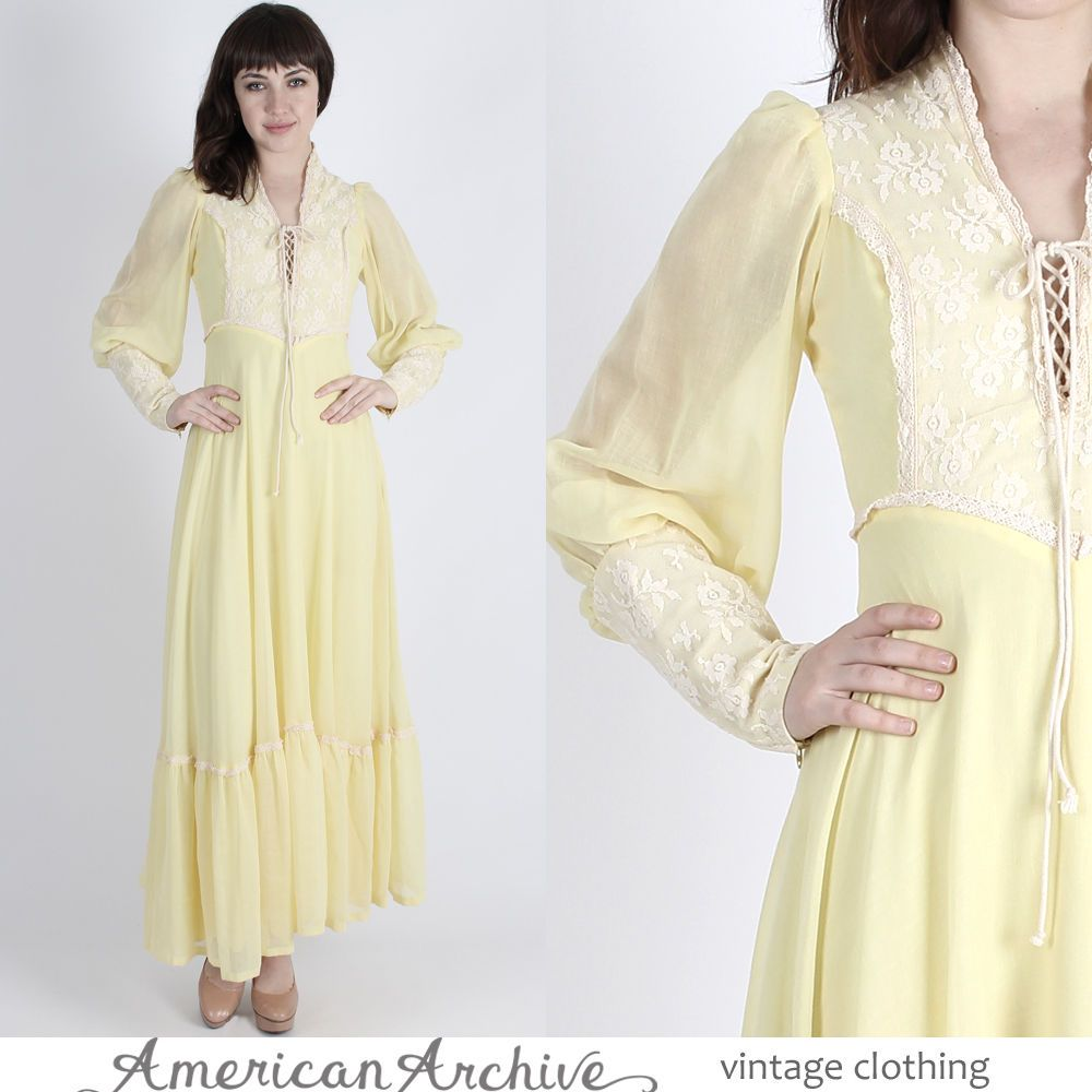 Vintage s boho wedding dress sheer yellow crochet lace cocktail