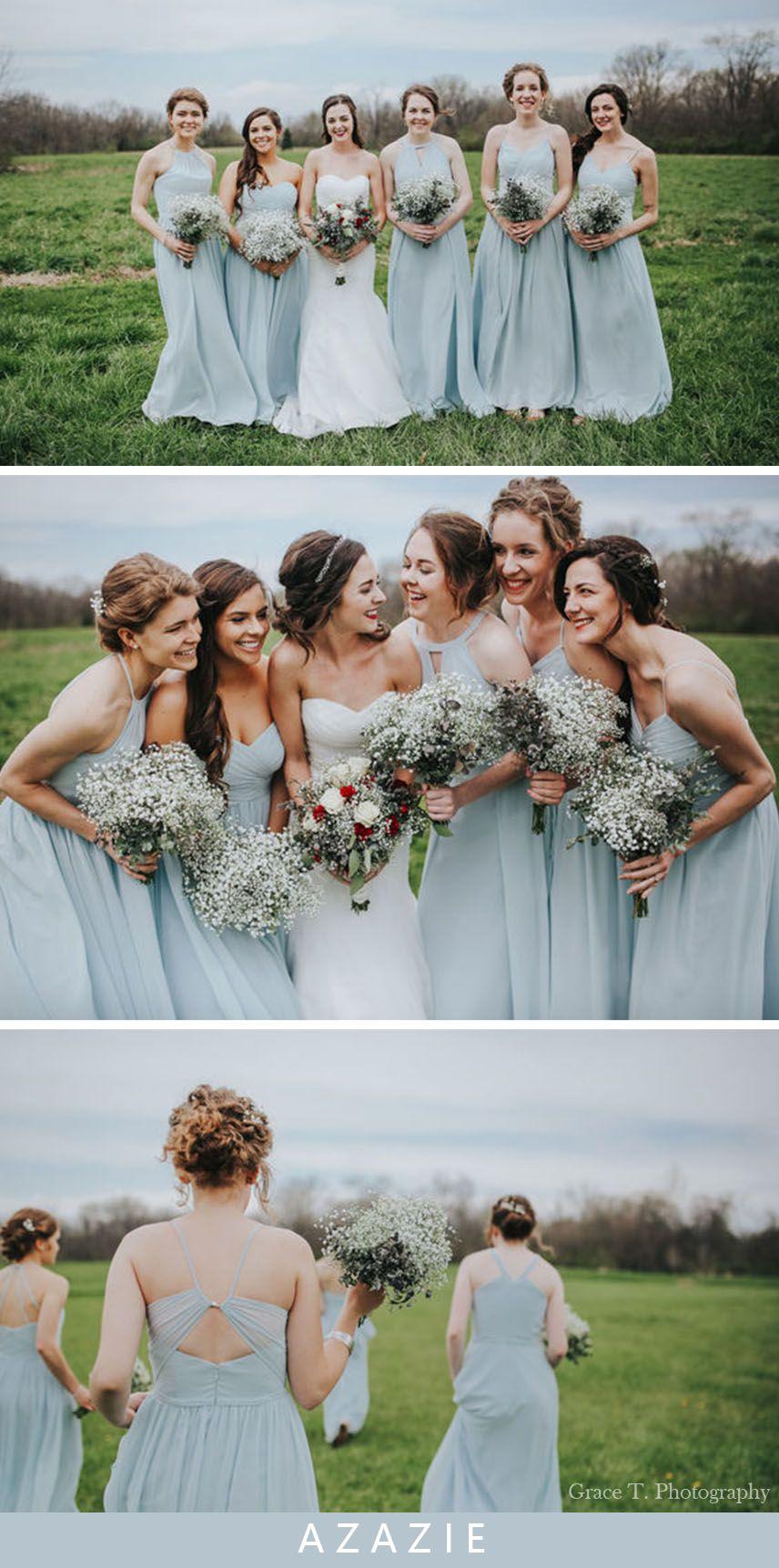 Azazie Mist Bridesmaid Dresses Real Wedding Inspirations Mist Bridesmaid Dress Summer Bridesmaid Dresses Bridesmaid Dresses [ 1723 x 856 Pixel ]