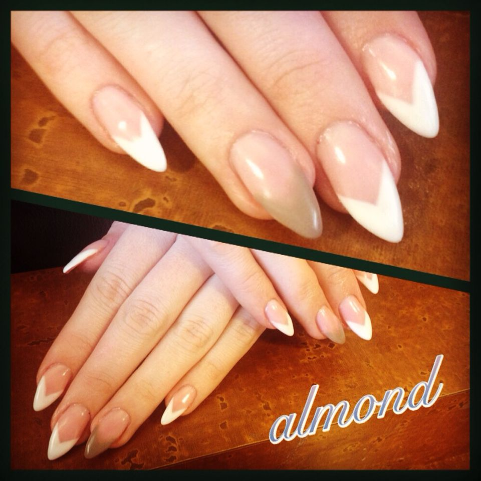 Almond Shaped Chevron Tip French Gel Nails Gel Nails Gel Nails Diy Gel Nails Shape