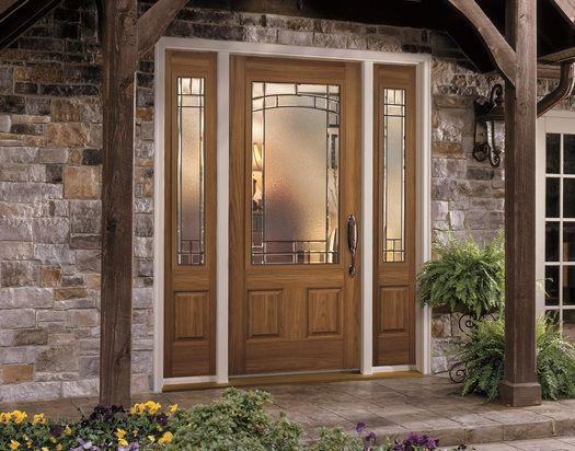 Fiberglass Entry Door With Designer Glass