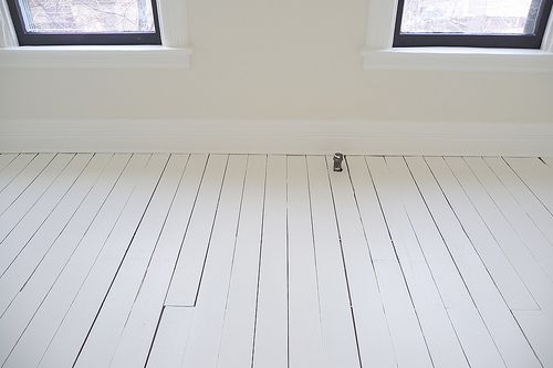 White Painted Floor Back Room White Painted Floors Painted Hardwood Floors Diy Wood Floors