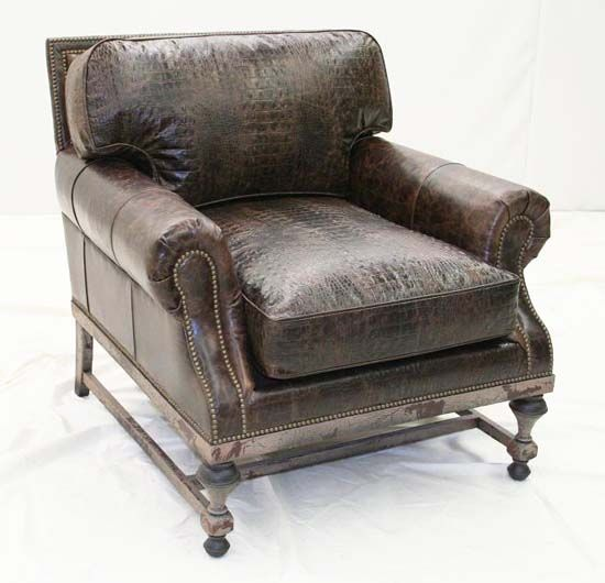 Old Hickory Espresso Club Chair Western Accent Chairs   Western Style  Elegance. Rich Dark Espresso Leather In Smooth And Embossed Croco. Loose  Cushions.