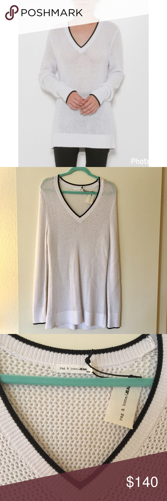 NWT Rag & Bone Elizabeth V-Neck oversized sweater NWT open knit ...