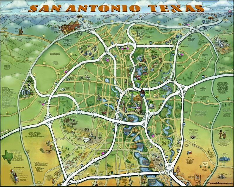 San Antonio En Dibujos Animados: San Antonio Texas Cartoon Zoom-In Map