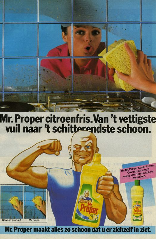 Fonkelnieuw Mr. Clean ad from Belgium. | Oude reclame, Poster, Vintage reclame DE-96