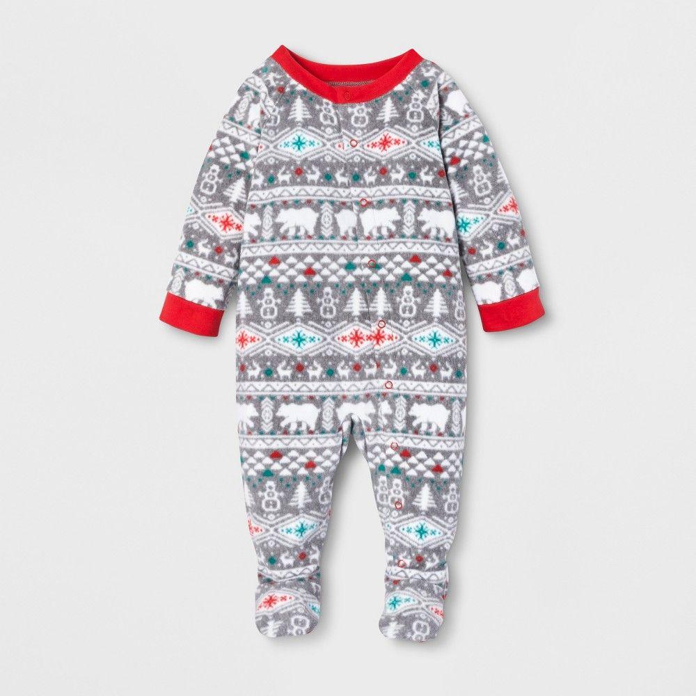 296aee89c Baby Holiday Fuzzy Bear Fair Isle Footed Sleeper - Wondershop White ...