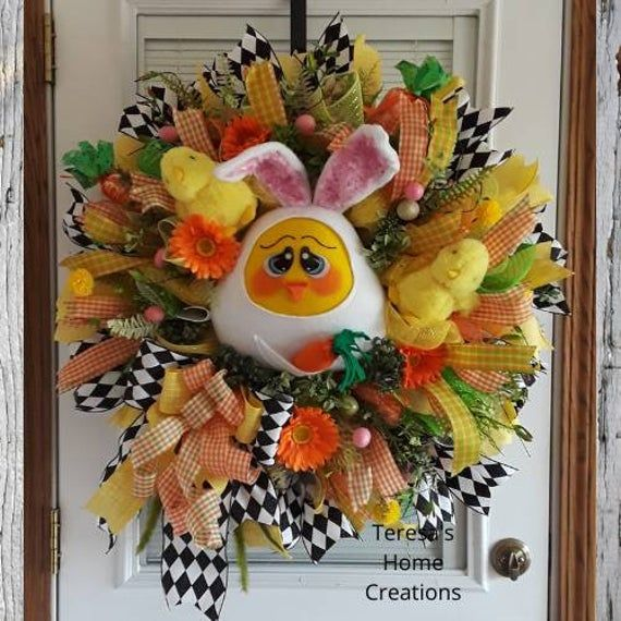 Photo of Easter Chick Wreath, Large Easter Wreath, Spring Wreath, Bunny Wreaths, Chick Wreaths, Easter Mesh Wreath, Easter Decor, Easter Bunny Wreath