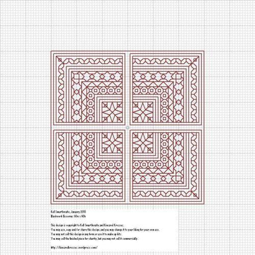 Blackwork Squares - Biscornu