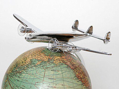 globe avec avion art deco antique mod le r duit d 39 avion regardez globe terrestre decoration. Black Bedroom Furniture Sets. Home Design Ideas