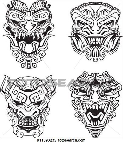 Aztec monster totem masks view large clip art graphic for Aztec mural tattoos