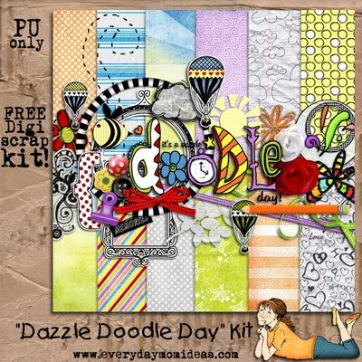 Dazzle Doodle Day - A free digital scrapbooking kit to celebrate the everyday moments.