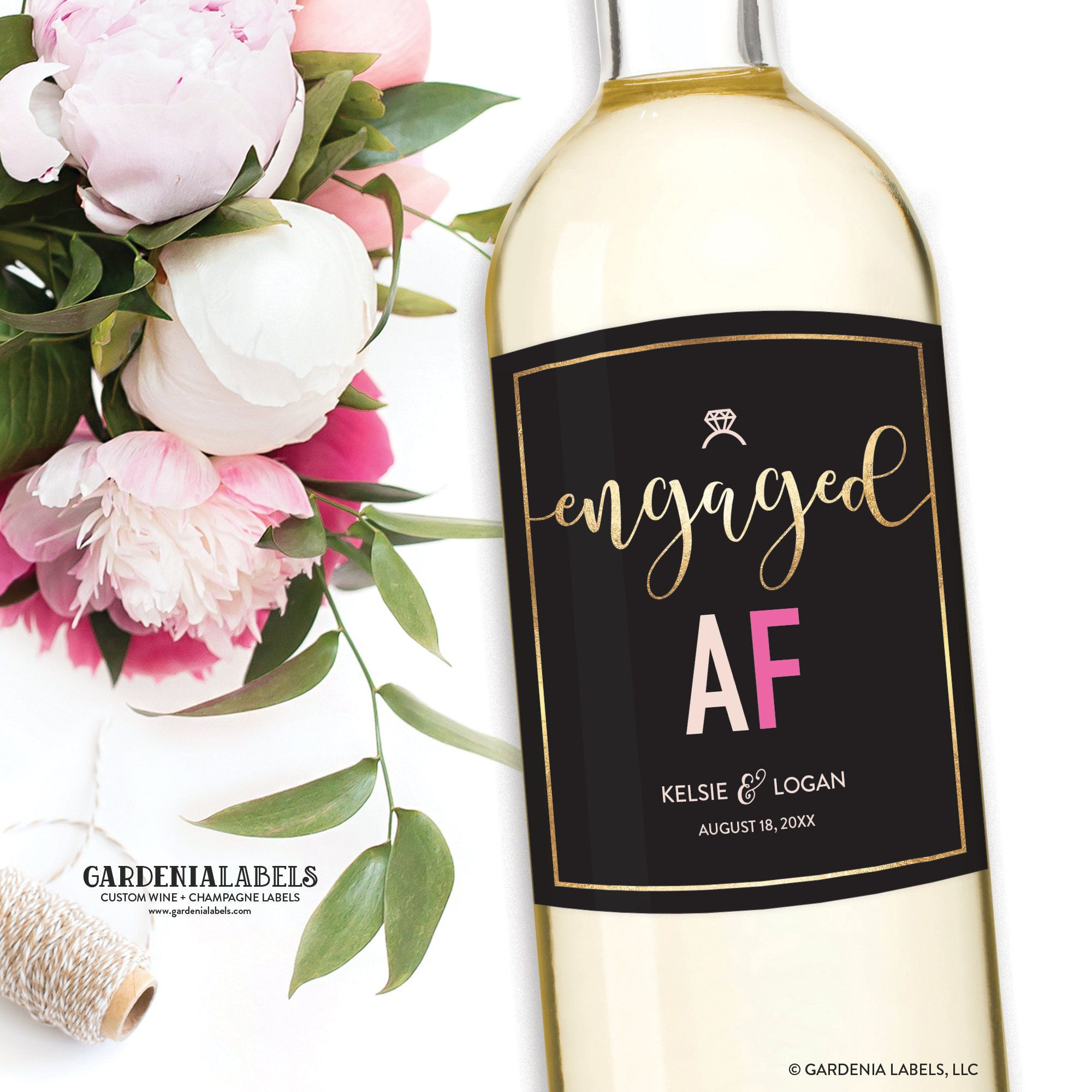 Engaged af wine label bride to be gift engagement party