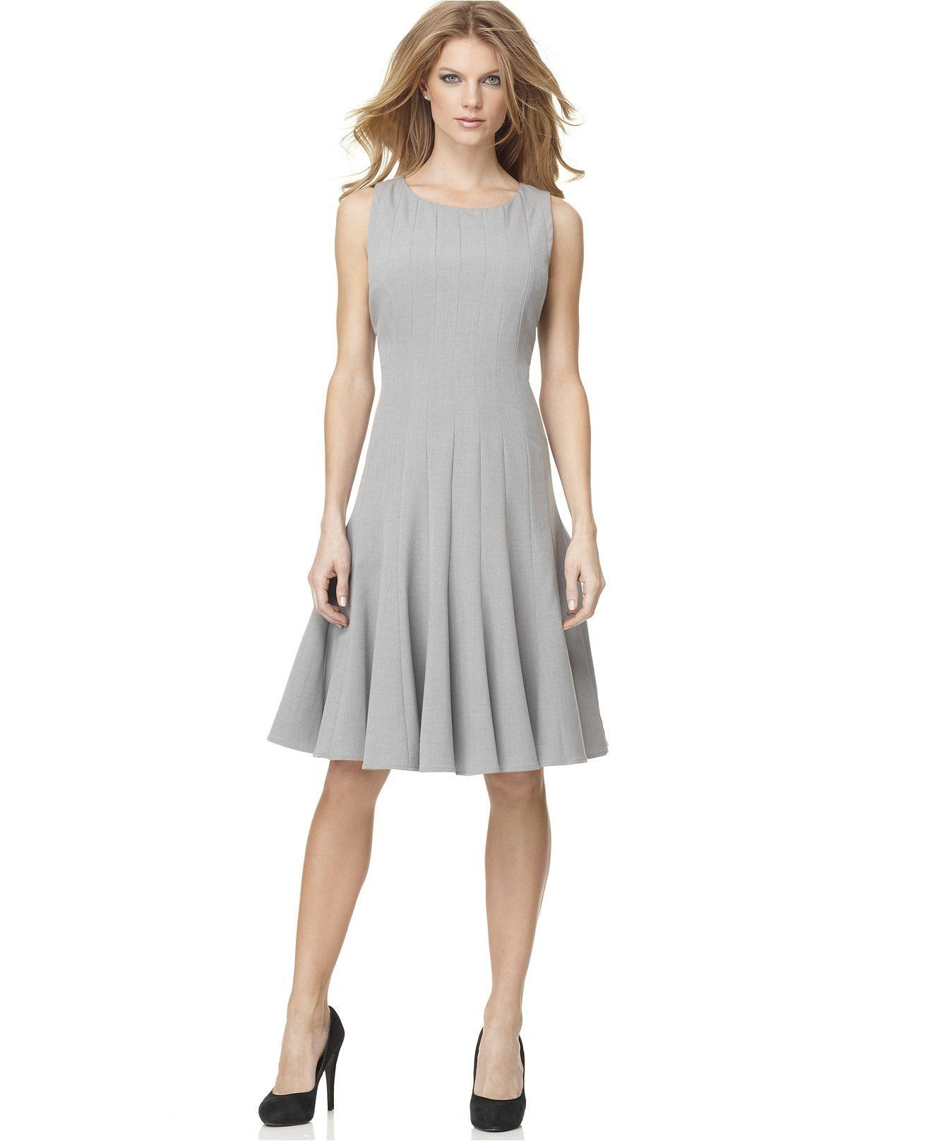 Calvin Klein Dress Sleeveless Pleated -line - Womens