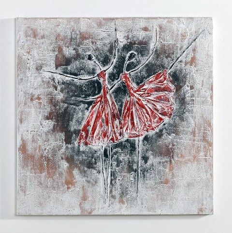 Party in Red - Oil Painting | Hand painted acrylic painting for modern home decoration by Nova Deko.