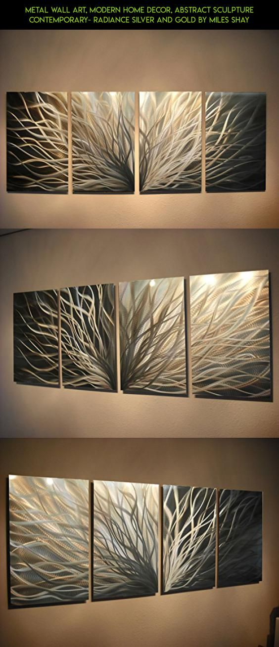 Metal wall art modern home decor abstract sculpture contemporary radiance silver and gold