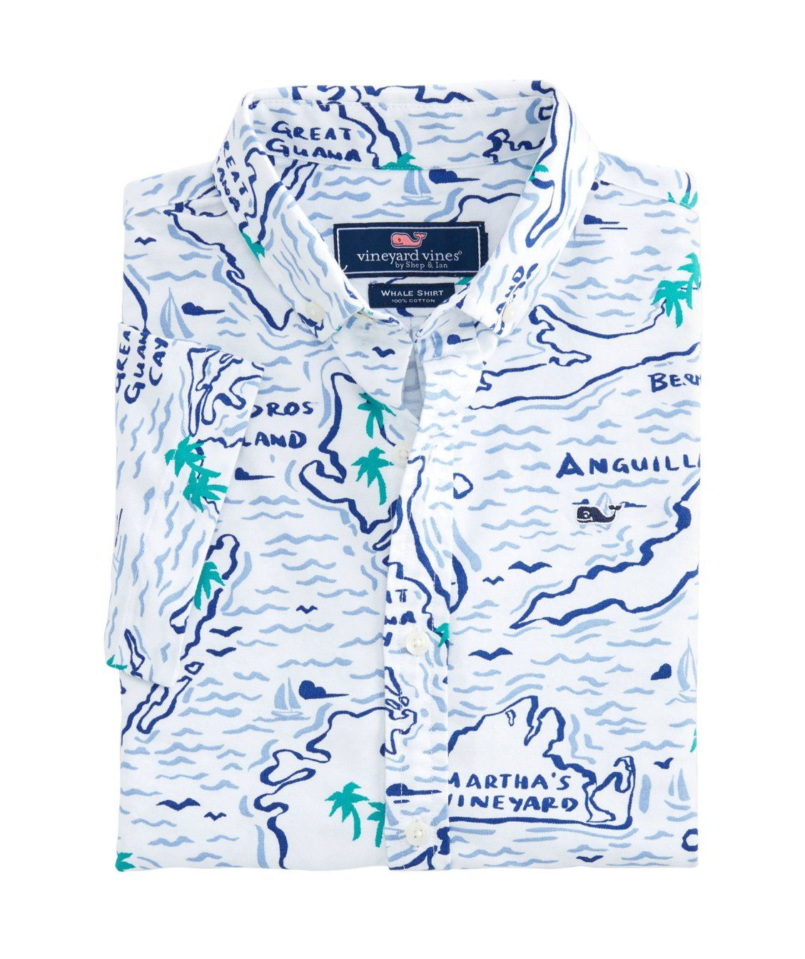 25eae3613 Boys Short-Sleeve Map Of The Island Oxford Whale Shirt