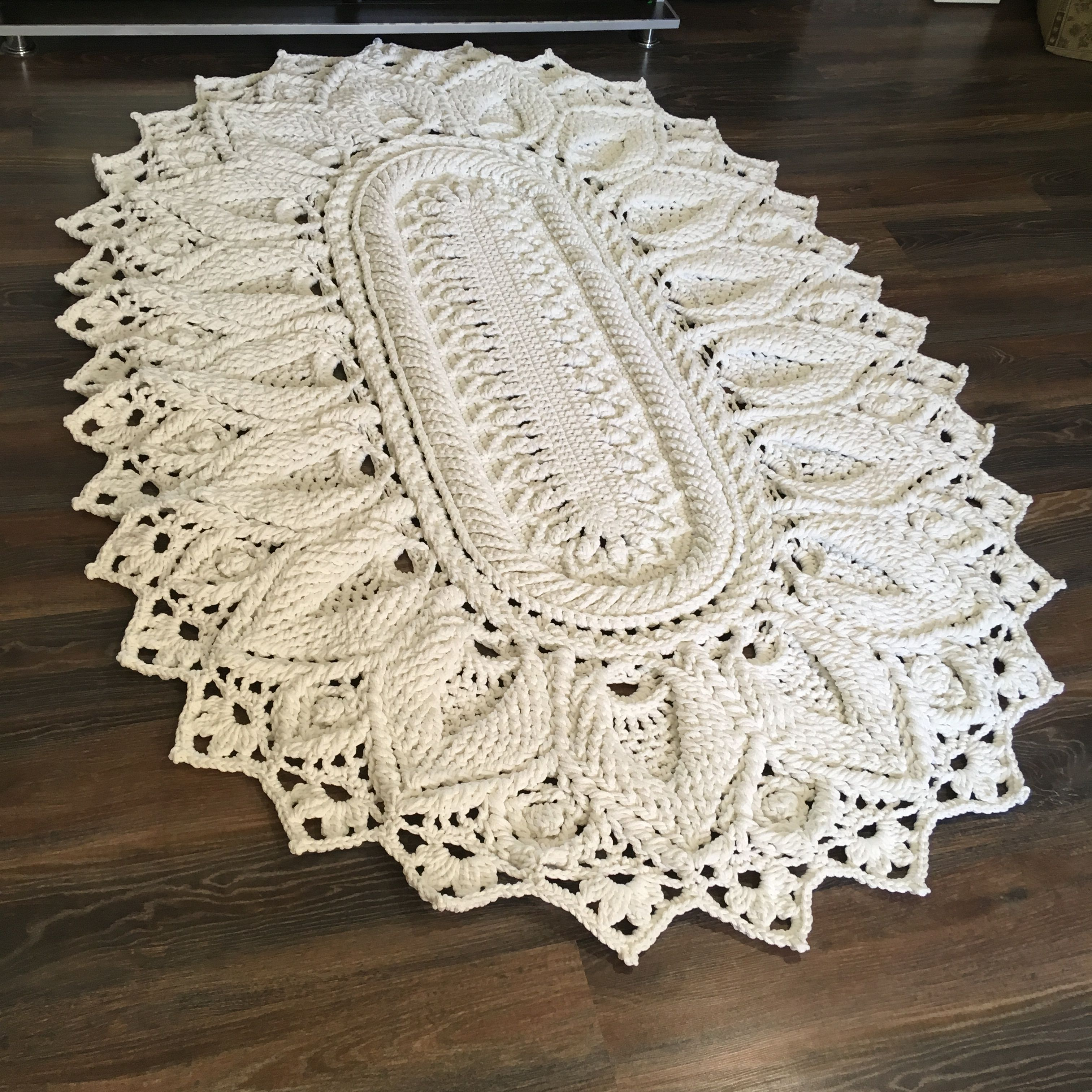 Crochet Video Tutorial On A Large Oval Cord Carpet English Etsy In 2020 Crochet Rug Patterns Crochet Videos Tutorials Crochet Rug
