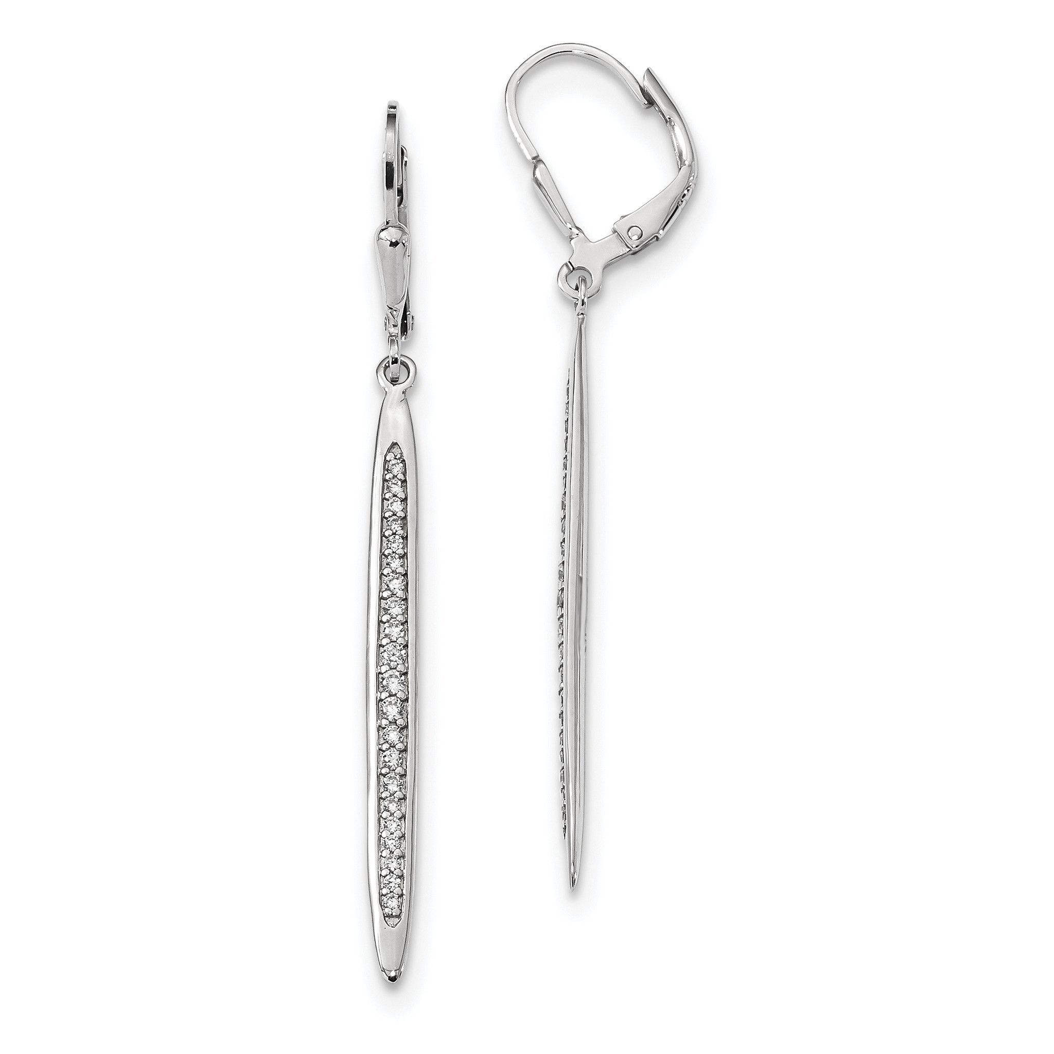 Sterling Silver Rhodium-plated Polished CZ Bar Leverback Dangle Earrings