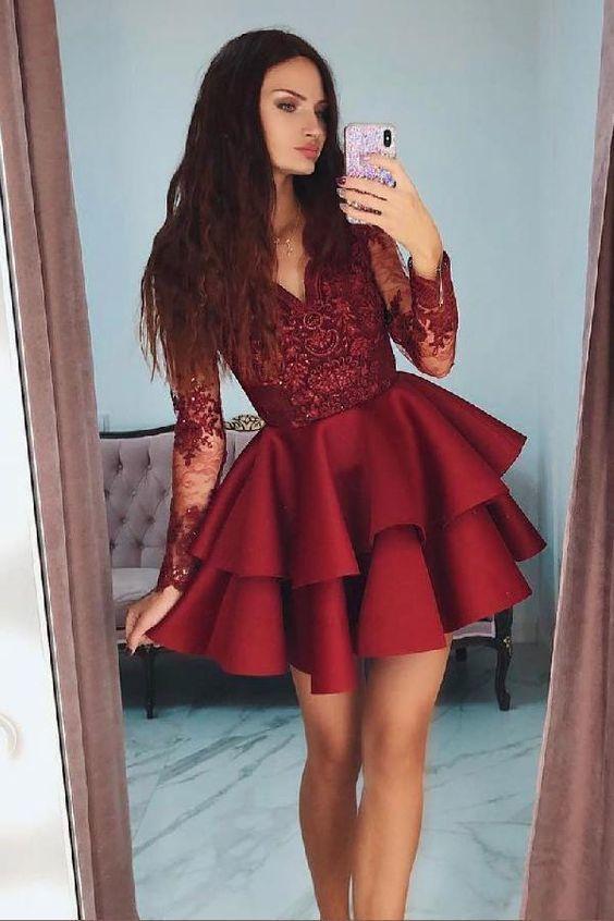Hot Sale Suitable Short Prom Dress, Prom Dress Lace, Burgundy Homecoming Dress, V Neck Homecoming Dress C37 #schooldancedresses