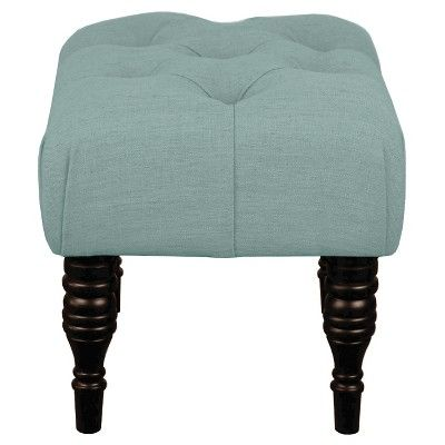 Astonishing Small Tufted Turned Leg Ottoman Threshold Blue Gray Gmtry Best Dining Table And Chair Ideas Images Gmtryco