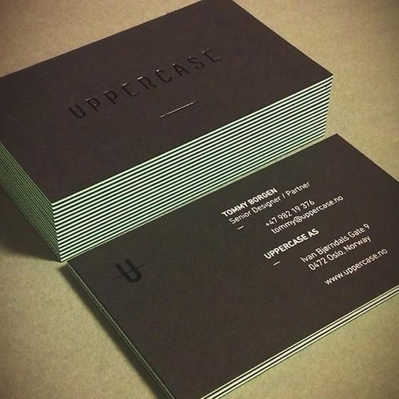 Mint Edge Uppercase business cards