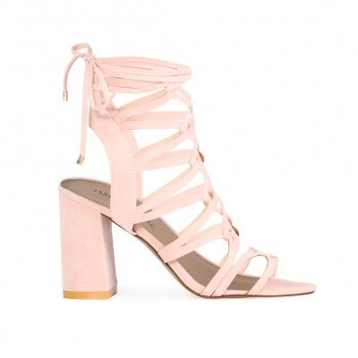 Molly Lace Up Block Heels in Dusky Pink Faux Suede