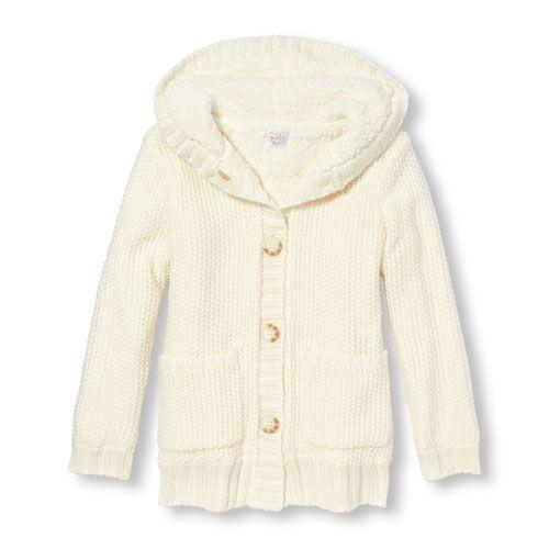 Girls Long Sleeve Metallic Faux Sherpa Hooded Cardigan | Hooded ...