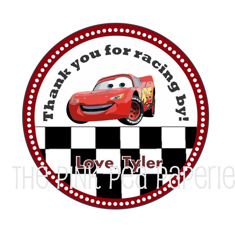 image about Lightning Mcqueen Printable Decals named Customized Printable Autos Stickers or Present Tags offering
