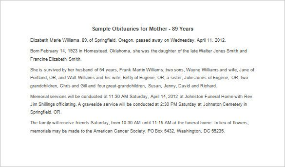 Sample Obituary For Mother template Pinterest