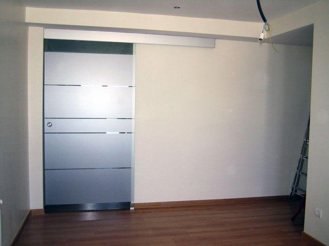 Puerta corredera 1 hoja puertas de cristal pinterest - Puertas correderas colgadas ...