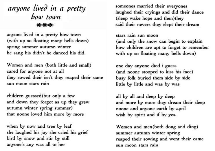 an analysis of the poem anyone lived in a pretty how town by ee cummings Analysis of ee cummings' anyone lived in a pretty how town and in just analysis of ee cummings' anyone lived in a pretty how town  poem the punctuation.