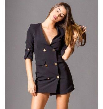 Σακάκι Μίνι Φόρεμα με Χρυσά Κουμπιά - Μαύρο  d72fa23c621