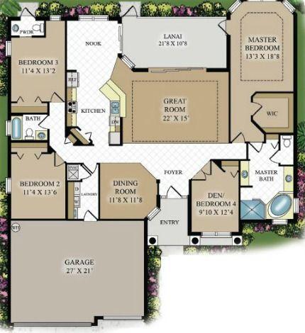 Oakmont floor plan 1 story 2 300 sq ft 4 bedrooms - 4 bedroom 3 car garage house plans ...