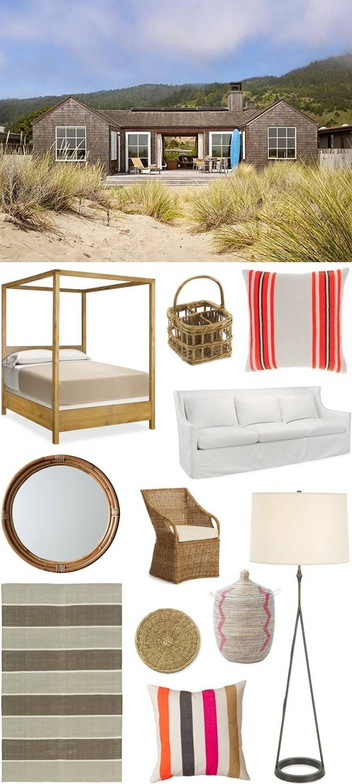 CHIC COASTAL LIVING: Beach House: Get The Look. Montara Mirror & Pink Senegalese Basket.