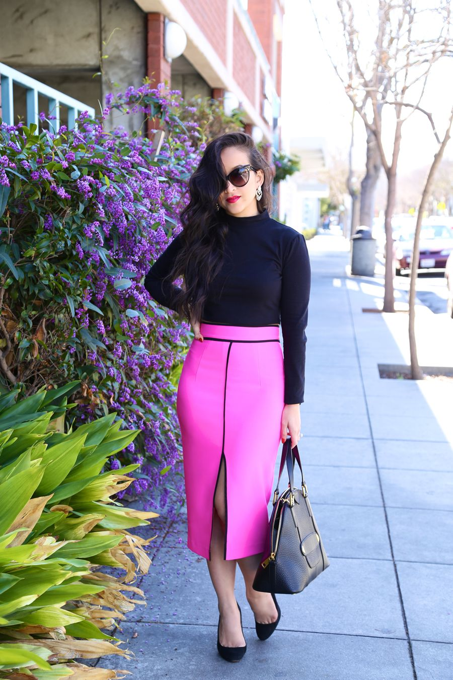 EXCHIC Women/'s Pencil Skirt Bodycon Business Skirt Side Slit Hem