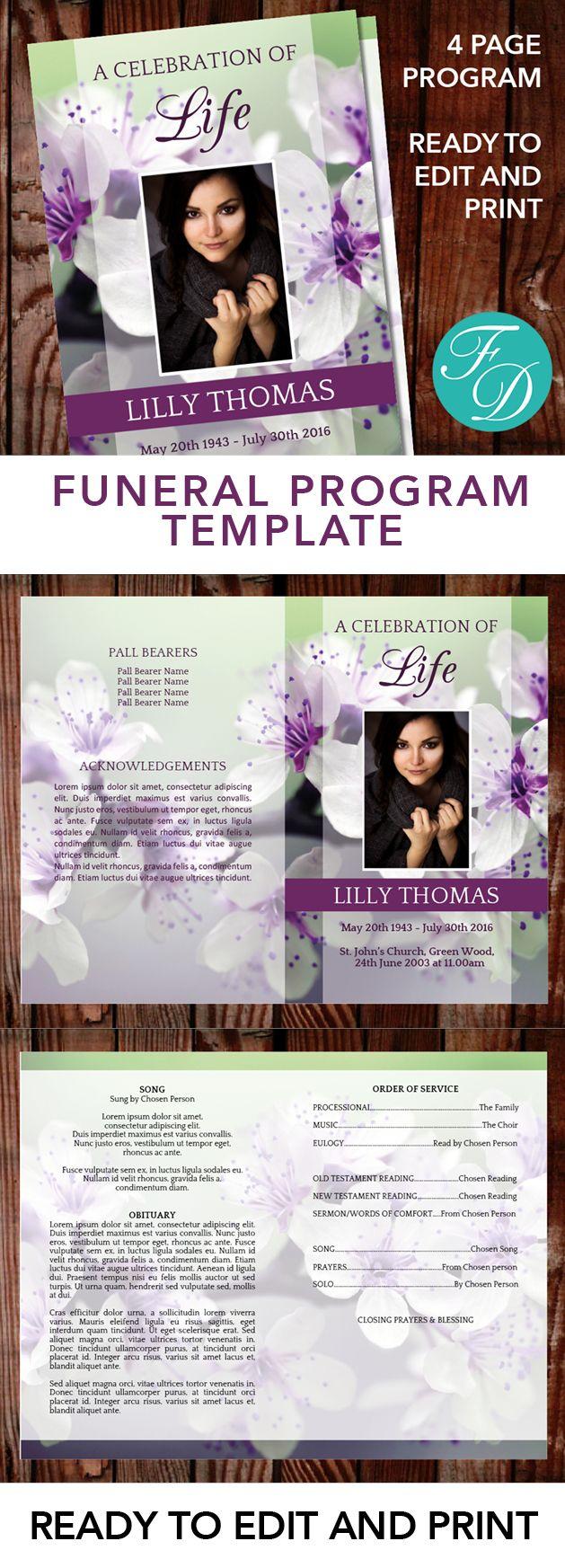 Programa Funeral Gratis Plantilla Microsoft Word   Plantillas de ...