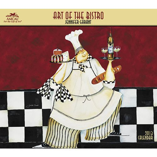 Art of the Bistro Wall Calendar: Serving up bistro ambience is Jennifer Garant's specialty. Inspired by frequent working vacations to New Orleans, Jennifer cooks up canvases that celebrate gourmet tastes, spirited chefs, and colorful culinary encounters.  $15.99  http://calendars.com/Vintage-Food-Advertising/Art-of-the-Bistro-2013-Wall-Calendar/prod201300000598/?categoryId=cat00127=cat00127#